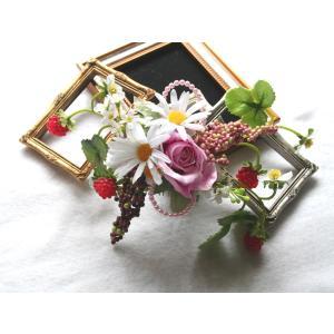コスモスと苺の髪飾り、7パーツ付き:HA008|vertpalette-store