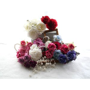 清楚で上品なバラを中心としたパーツの髪飾り(26パーツ)|vertpalette-store