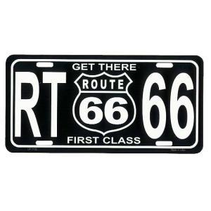 ルート66 ブラック FIRST CLASS フラットタイプ ライセンスプレート アメリカ 雑貨 アメリカン雑貨|veryberry
