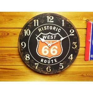 ヒストリックルート66 ルート66 ブラック レトロ調 壁掛け時計 アメリカ 雑貨 アメリカン雑貨|veryberry