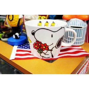 スヌーピー マグカップ フラワー デカマグシリーズ 陶器製 PEANUTS アメリカ 雑貨 アメリカン雑貨|veryberry
