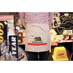 カリフォルニア州 フラッグ柄 カフェエプロン コットン製 アメリカ 雑貨 アメリカン雑貨|veryberry