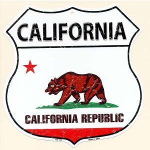 カリフォルニア州 CALIFORNIA 標識型 州旗柄 アメリカンブリキ看板 アメリカ 雑貨 アメリカン雑貨|veryberry
