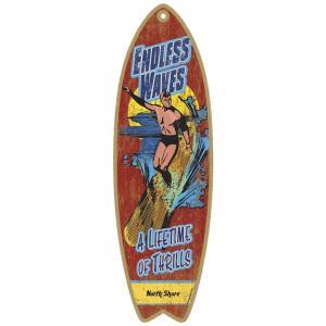 アメリカのメーカーさん企画のサーフボード型の木製プレートです★この形とデザインが雰囲気あってインテリ...