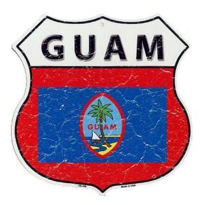 グアム GUAM 標識型 フラッグ柄 アメリカンブリキ看板 アメリカン雑貨 アメリカ雑貨
