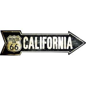 ルート66 アローカット 矢印型 レトロ調 カリフォルニア州 アメリカンブリキ看板 アメリカン雑貨 アメリカ雑貨|veryberry