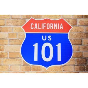 アメリカの国道 101号線 カリフォルニア区間 約46×46センチ 道路標識 トラフィックサイン|veryberry