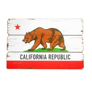 カリフォルニア フラッグ柄 木製壁飾り 木製ボード 木製看板|veryberry