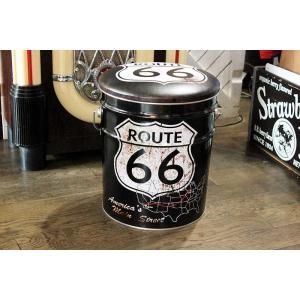 ルート66柄 オイル缶のスツール ブラック|veryberry