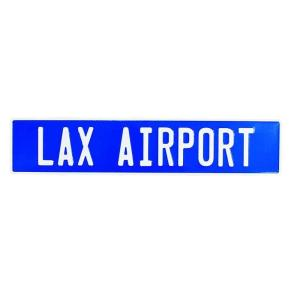 ロサンゼルス国際空港 ラックスエアポート ストリートサイン ブルー エンボス加工 アメリカンブリキ看板|veryberry