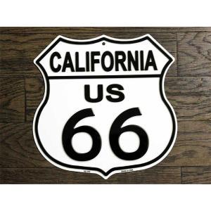 ルート66 まんま標識型 カリフォルニア州 フラットタイプ アメリカンブリキ看板|veryberry