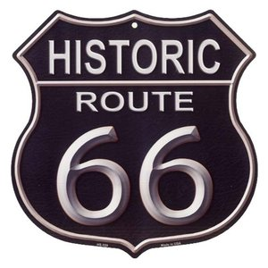ルート66 ブラック HISTORIC ROUTE 66 まんま標識型 アメリカンブリキ看板|veryberry