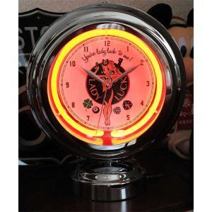 LADY LUCK テーブルネオンクロック 置時計 絵になるインテリア時計|veryberry