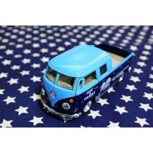 ワーゲンバス 63年式 ダブルキャブ 商用車 ブルー×ブルー ミニカー プルバックカー|veryberry