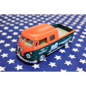 ワーゲンバス 63年式 ダブルキャブ 商用車 オレンジ×グリーン ミニカー プルバックカー|veryberry