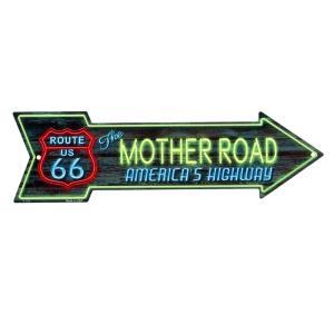 ルート66 アローカット ネオンカラー MOTHER ROAD 矢印型 アメリカンブリキ看板|veryberry