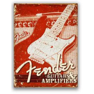 フェンダー エレキギター GUITARS & AMPLIFIERS レトロ調 アメリカンブリキ看板 アメリカ雑貨 アメリカン雑貨 veryberry