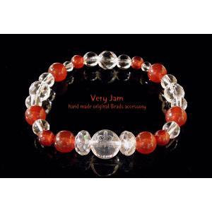 パワーストーン天然石 キュートな彫刻水晶 レッドアゲートの 数珠 ブレスvj|veryjam