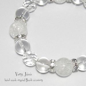 天然石パワーストーン ひんやりGlaceクリシタル数珠ブレス クリスタルクオーツ・大粒クラック水晶yvj|veryjam