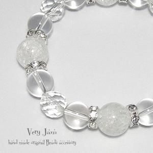 天然石パワーストーン ひんやりGlaceクリシタル数珠ブレス クリスタルクオーツ・大粒クラック水晶yvj(1)|veryjam