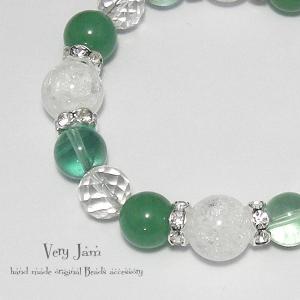天然石パワーストーン ひんやりGlaceグリーン数珠ブレス グリーンアベンチュリン・フローライト・大粒クラック水晶yvj|veryjam