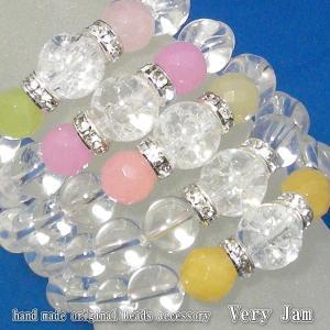 天然石パワーストーン ひんやりGlaceクリスタル バブル数珠ブレスB|veryjam