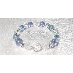 パワーストーン ブレスレット メンズ 水晶幸運のクローバー・ダブルオーラ&ツイスト水晶M 数珠ブレス veryjam