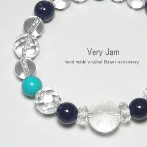 天然石パワーストーンブレスレット クリスタルクローバー ラピスラズリ ターコイズ 水晶 数珠ブレスy veryjam