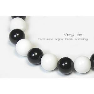天然石パワーストーンブレスレット ブラックオニキス×ホワイトオニキス 数珠ブレスvj|veryjam
