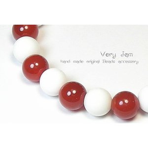 天然石パワーストーンブレスレット カーネリアン×ホワイトオニキス 数珠ブレスvj|veryjam