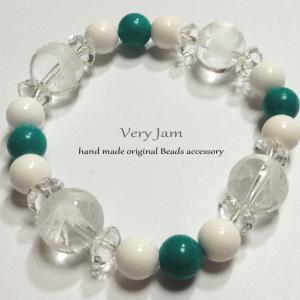 天然石 数珠ブレス 風水四神 水晶×ターコイズ×ホワイトオニキス#5|veryjam