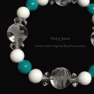 天然石 数珠ブレス 風水四神 水晶×ターコイズ×ホワイトオニキス#8|veryjam