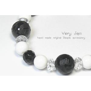 天然石パワーストーン 数珠ブレス 風水四神 水晶×ブラックオニキス×ホワイトオニキスvj|veryjam