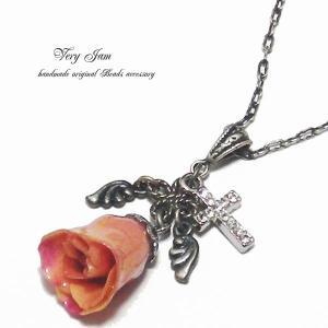 天然石パワーストーン ピーチピンクの薔薇天使・クロス・水晶  ハンドメイドネックレスvj|veryjam