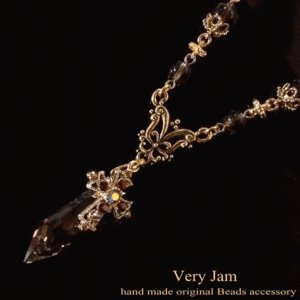 スワロフスキーパワーストーン天然石 ゴールデンチークの剣とゴージャスクロスネックレス## veryjam