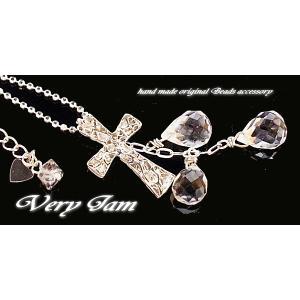 パワーストーン シルバーと天然石 クロス水晶ハーキマーダイヤモンドSV925 ネックレスvj|veryjam