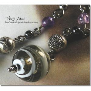 天然石パワーストーン Handmade Lamp Silver Foil ・アメジスト ピアスvj|veryjam