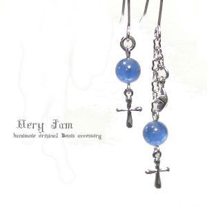 "Holy night天然石""カイヤナイト""アシンメトリーパワーストーンピアスvj|veryjam"