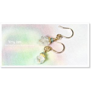 パワーストーン天然石 オシャレな女性のための K14GFハーキマーダイヤモンド&アパタイト ピアスvj|veryjam