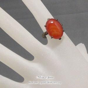天然石パワーストーン朱赤色のカーネリアン カボッションリング!vj|veryjam