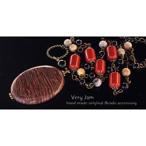 パワーストーン天然石 個性派 紅彩紋石 オニキス・クレイジーアゲート・レットアゲートのハンドメイドネックレス  1点物 veryjam