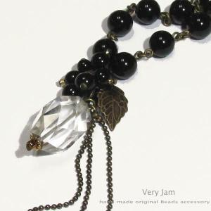 天然石パワーストーン 大粒タンブルカット水晶とオニキスのネックレスvj|veryjam