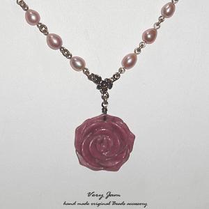 パワーストーン天然石ロードナイト薔薇と淡水パールのハンドメイドネックレスvj|veryjam
