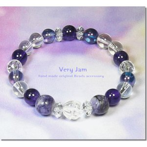 天然石パワーストーン ブレスレット メンズ 数珠ブレス 水蓮 -Elegance Purple- エレガンスパープル チャロアイトvj|veryjam