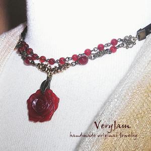 パワーストーン天然石 カーネリアンの薔薇 ハンドメイド 2連チョーカーvj(1)|veryjam