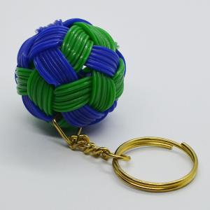 ミニチュア セパタクローボール キーリング 緑×青 Marathon