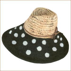 ソレイユ ツマミジュートキャンベリン(ドット・ブラック) ガーデニング・帽子|vg-harada