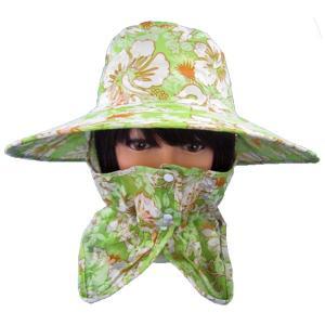 UVカット機能付きハット・農園帽子(花柄グリーン) ガーデニング・帽子|vg-harada