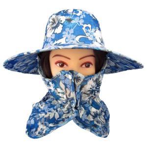 UVカット機能付きハット・農園帽子(花柄ブルー) ガーデニング・帽子|vg-harada