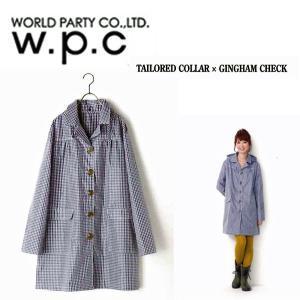 w.p.c レインコート テーラードカラーギンガムチェック(ブルー/フリーサイズ) ガーデニング・ウエア|vg-harada